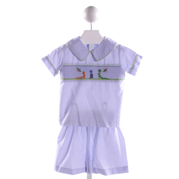 CASTLES & CROWNS  BLUE  MICROCHECK SMOCKED 2-PIECE OUTFIT