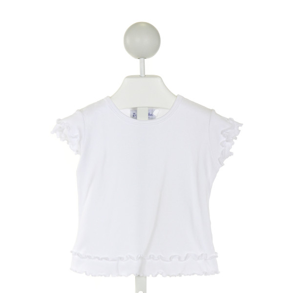 ORIENT EXPRESSED  WHITE    KNIT SS SHIRT WITH RUFFLE
