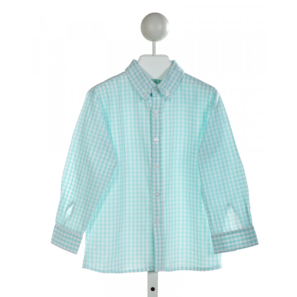 LITTLE ENGLISH  AQUA  GINGHAM  CLOTH LS SHIRT