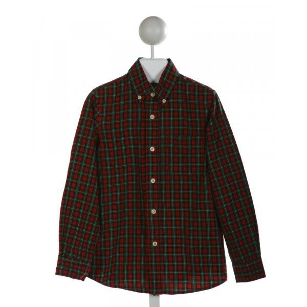 E-LAND  RED  PLAID  CLOTH LS SHIRT