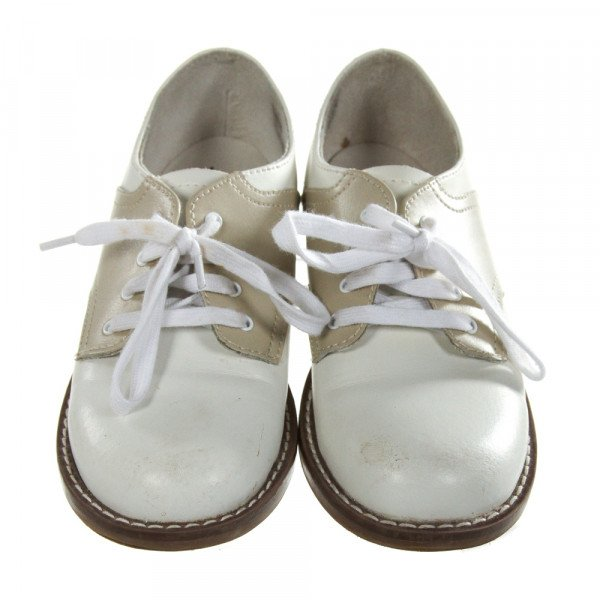 FOOTMATES WHITE AND KHAKI LEATHER SHOES *SIZE TODDLER 11.5W, GUC - DISCOLORATION