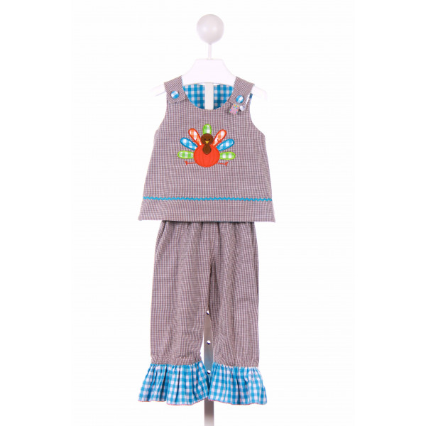 SMOCKED POLKA DOT  BROWN  GINGHAM APPLIQUED 2-PIECE OUTFIT WITH RUFFLE