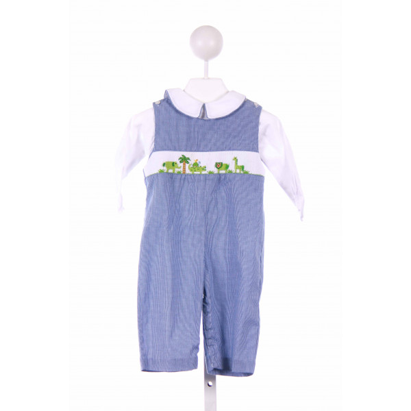 COLLECTION BEBE  BLUE  GINGHAM SMOCKED LONGALL/ROMPER