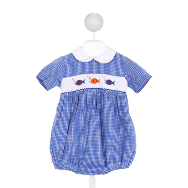 SILLY GOOSE  BLUE  WINDOWPANE SMOCKED BUBBLE