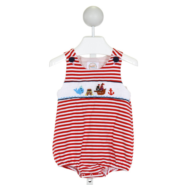 SMOCKED POLKA DOT  RED  STRIPED SMOCKED BUBBLE