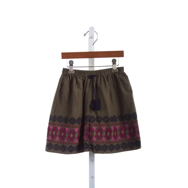 PINK CHICKEN OLIVE EMBROIDERED SKIRT