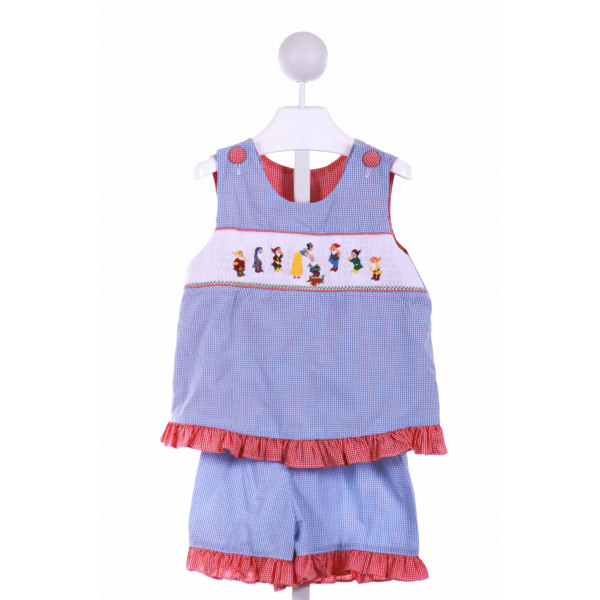 WISH UPON A STAR  BLUE  GINGHAM SMOCKED 2-PIECE OUTFIT WITH RUFFLE