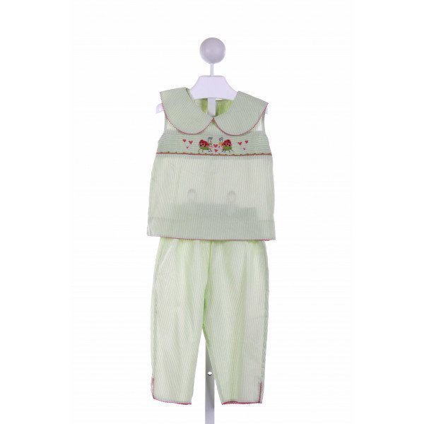 AMANDA REMEMBERED  GREEN  STRIPED SMOCKED 2-PIECE OUTFIT