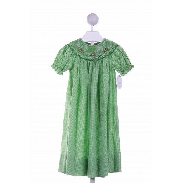 ROSALINA  GREEN  GINGHAM SMOCKED CASUAL DRESS