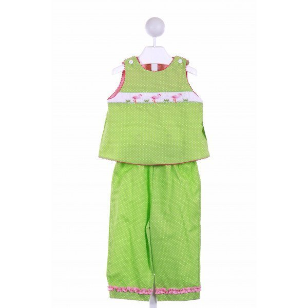 COLLECTION BEBE  GREEN  POLKA DOT SMOCKED 2-PIECE OUTFIT