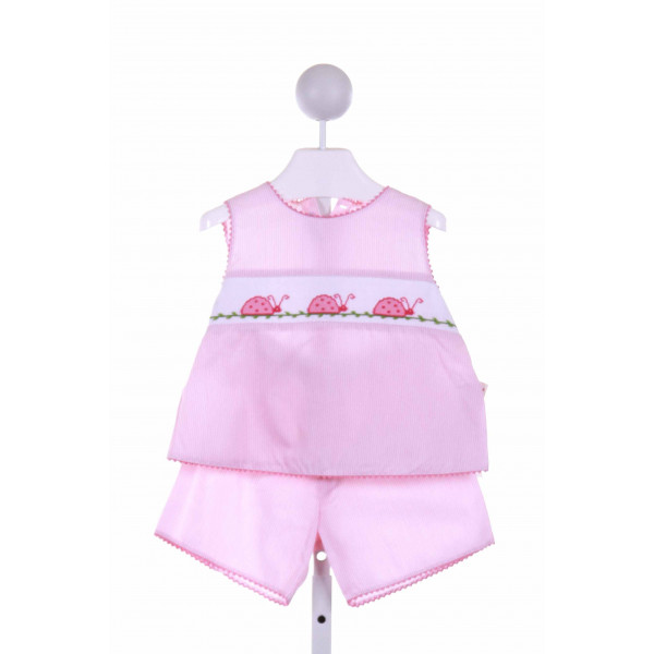 SILLY GOOSE  PINK  STRIPED SMOCKED 2-PIECE OUTFIT