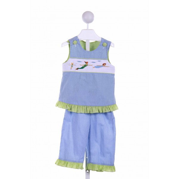 WISH UPON A STAR  BLUE  GINGHAM SMOCKED 2-PIECE OUTFIT