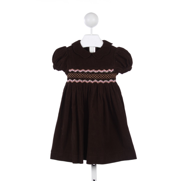CHOCOLATE SOUP BROWN CORD DRESS WITH PINK SMOCKING