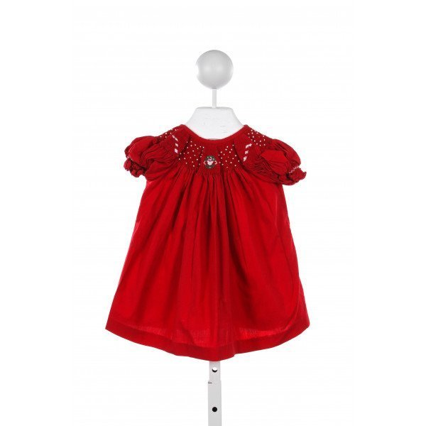 CLASSY COUTURE RED DRESS WITH SANTA/ BEADED SMOCKING
