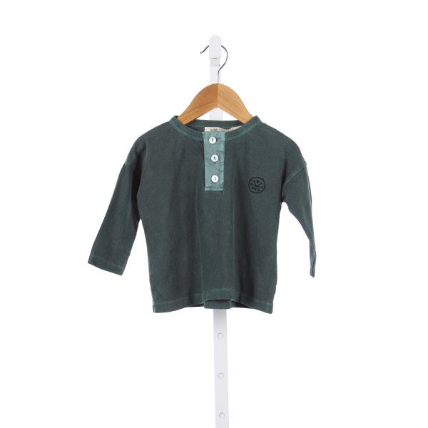 BOBO CHOSES GREEN KNIT SHIRT *SIZE 12-18M