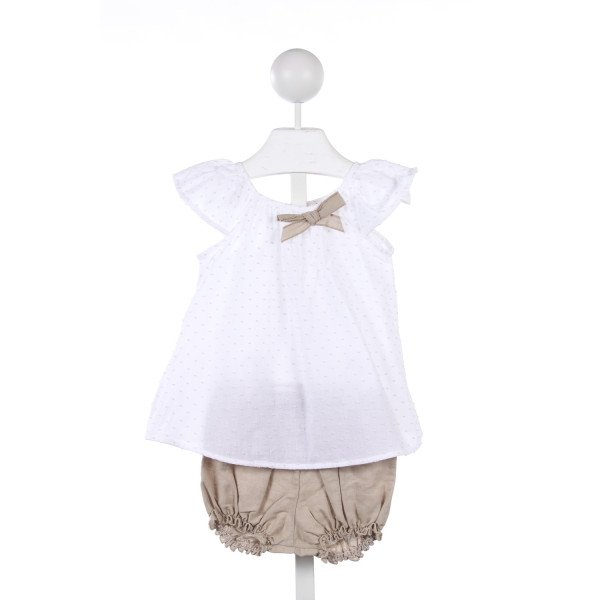 KID'S COMPANY LIGHT PINK SWISS DOT TOP WITH LINEN TRIM AND BLOOMERS