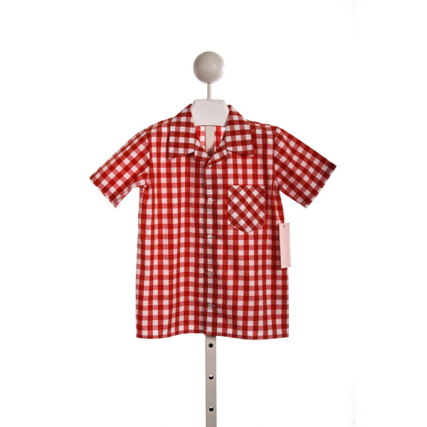 KAYCE HUGHES BOYS CAMP SHIRT IN RED GINGHAM