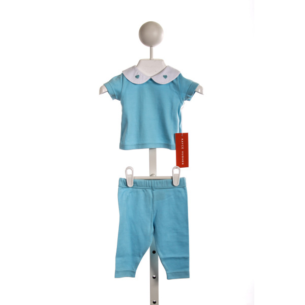 KAYCE HUGHES SHORT SLEEVE REAGAN SET IN BLUE KNIT WITH WHITE COLLAR