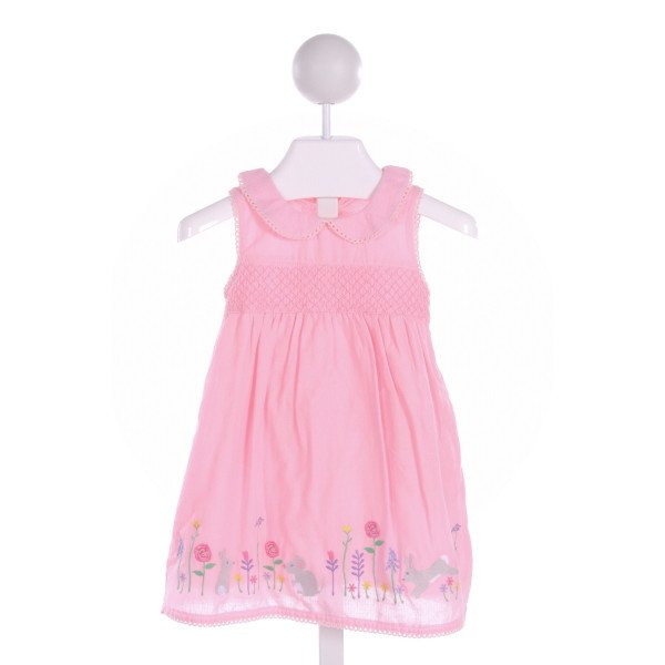 JOJO MAMAN BEBE  LT PINK   SMOCKED DRESS WITH PICOT STITCHING