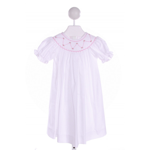CLOSET NINE  WHITE   SMOCKED DRESS WITH RUFFLE