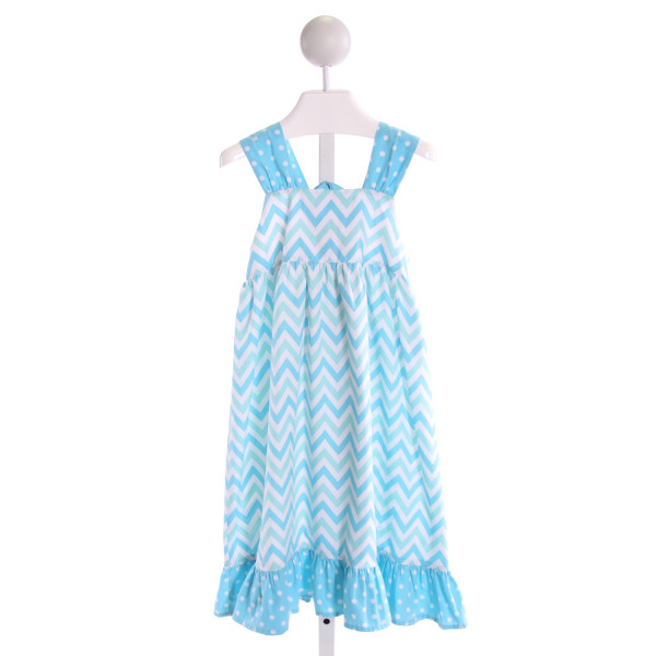 KELLY'S KIDS  BLUE  POLKA DOT PRINTED DESIGN DRESS WITH RUFFLE