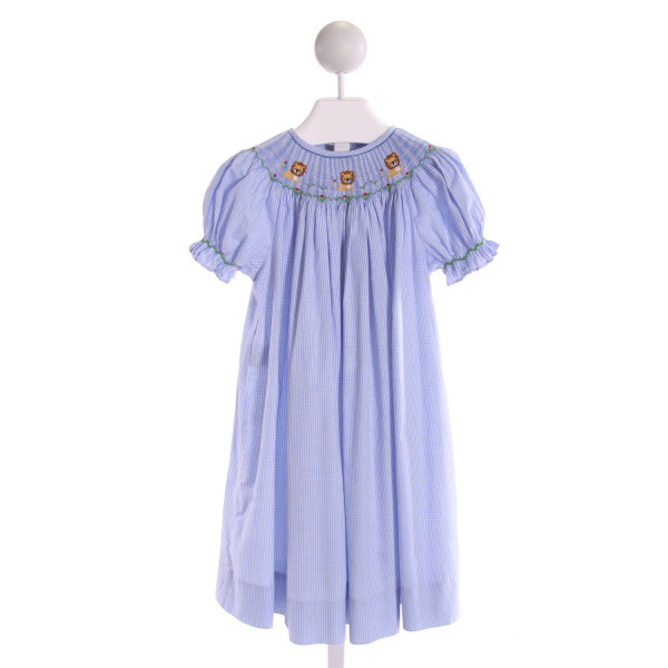 WISH UPON A STAR  LT BLUE  GINGHAM SMOCKED DRESS WITH RUFFLE