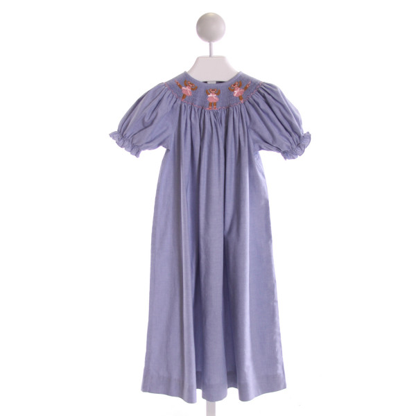 RAGSLAND  BLUE   SMOCKED DRESS WITH RUFFLE