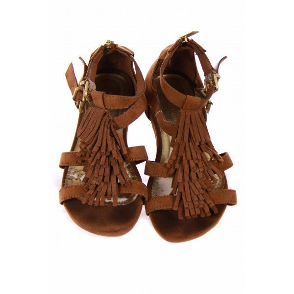 KENNETH COLE BROWN SUEDE FRINGE GLADIATOR SANDALS SIZE 2 *VGU