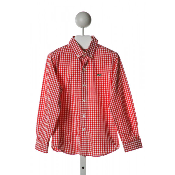 VINEYARD VINES  RED  GINGHAM  CLOTH LS SHIRT