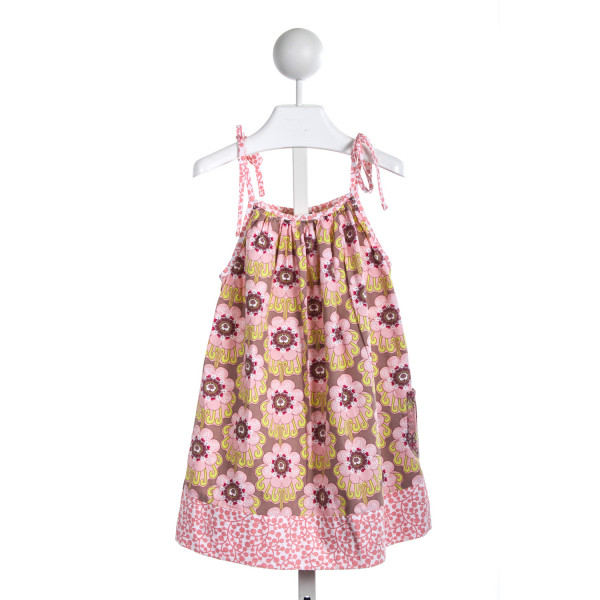 NAIN AND JOE PINK AND BROWN PRINT TIE DRESS