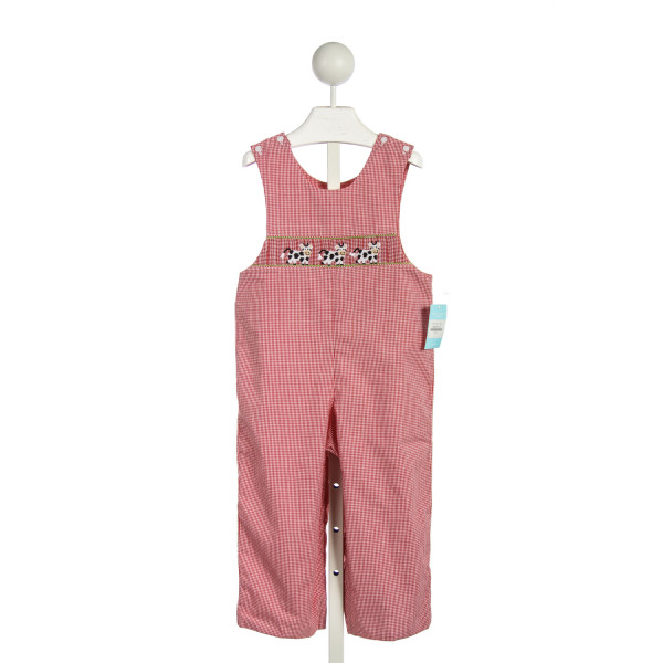 ANAVINI RED GINGHAM SMOCKED COWS ROMPER