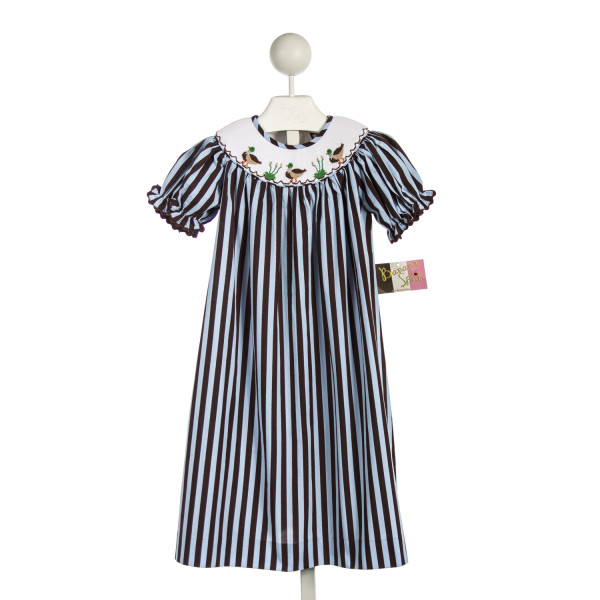 BANANA SPLIT BLUE AND BROWN STRIPED DRESS WITH SMOCKED MALLARDS