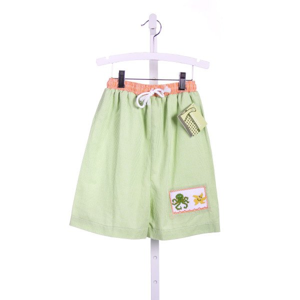 ZUCCINI GREEN AND ORANGE GINGHAM SWIM TRUNKS WITH SMOCKED OCTOPUS AND STARFISH