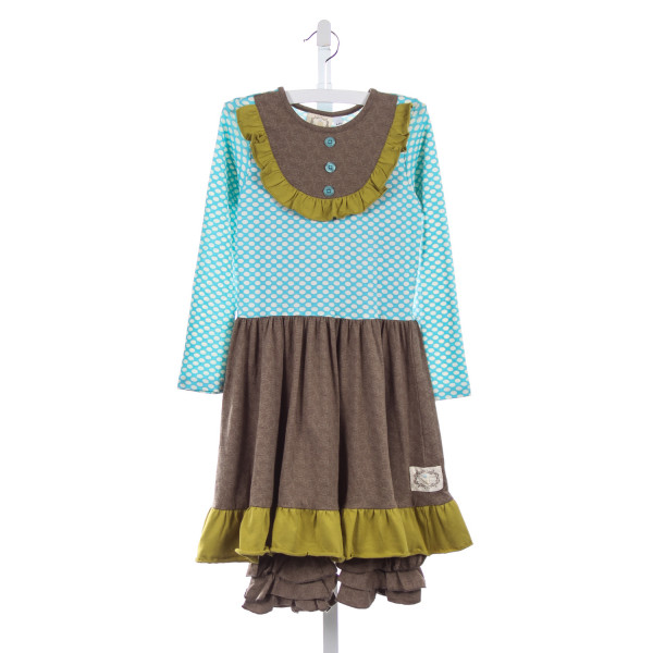 SWANKY BABY VINTAGE BLUE POLKA-DOT, BROWN AND GREEN KNIT DRESS WITH LEGGINGS * SIZE 6-7