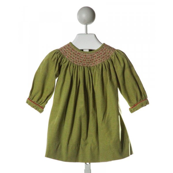FANCY THREADS  GREEN CORDUROY  SMOCKED DRESS