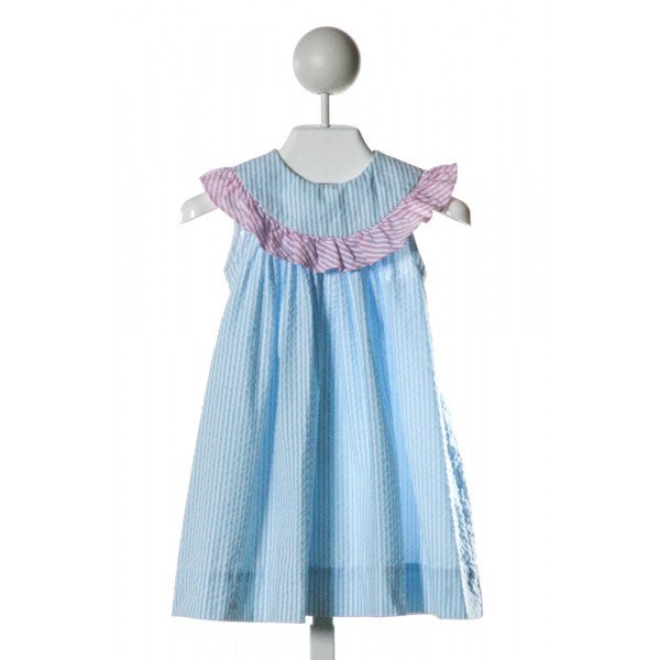 BAILEY BOYS  LT BLUE SEERSUCKER STRIPED  DRESS WITH RUFFLE