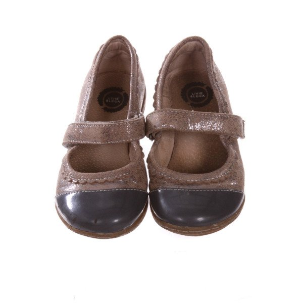 LIVIE & LUCA BROWN WITH SILVER GLITTER SHOES *SIZE 10, VGU- MINOR SCUFFING