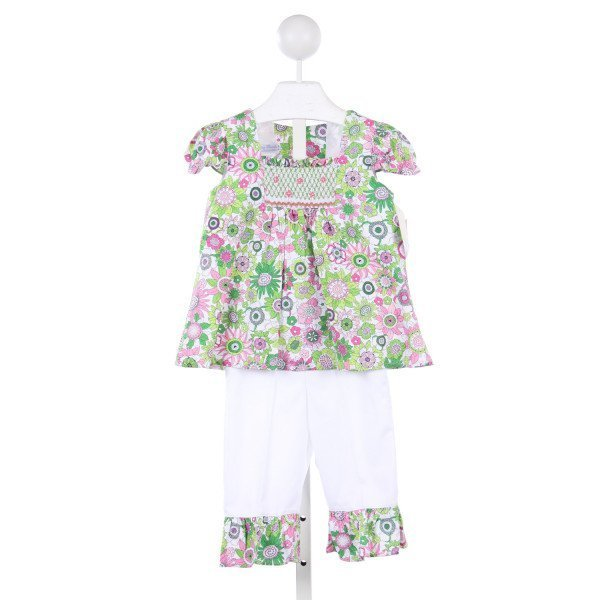 FANCY THREADS WHITE / GREEN / PINK FLORAL SET