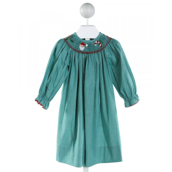AMANDA REMEMBERED  GREEN  MICROCHECK SMOCKED DRESS WITH RIC RAC