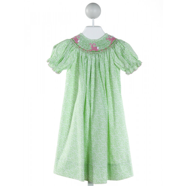 AMANDA REMEMBERED  LT GREEN  PRINT SMOCKED DRESS WITH PICOT STITCHING
