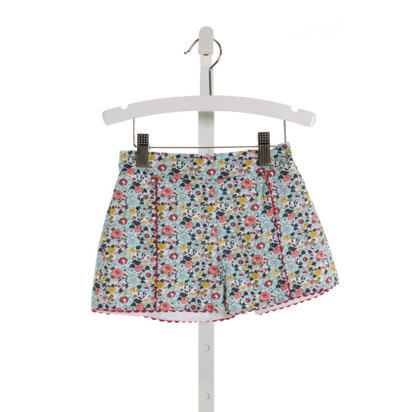 PETIT PEONY  LT BLUE  FLORAL  SHORTS WITH RIC RAC