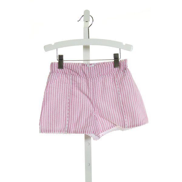 PETIT PEONY  PINK SEERSUCKER STRIPED  SHORTS WITH RIC RAC