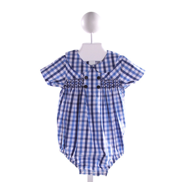 BELLA BLISS  BLUE  GINGHAM SMOCKED BUBBLE