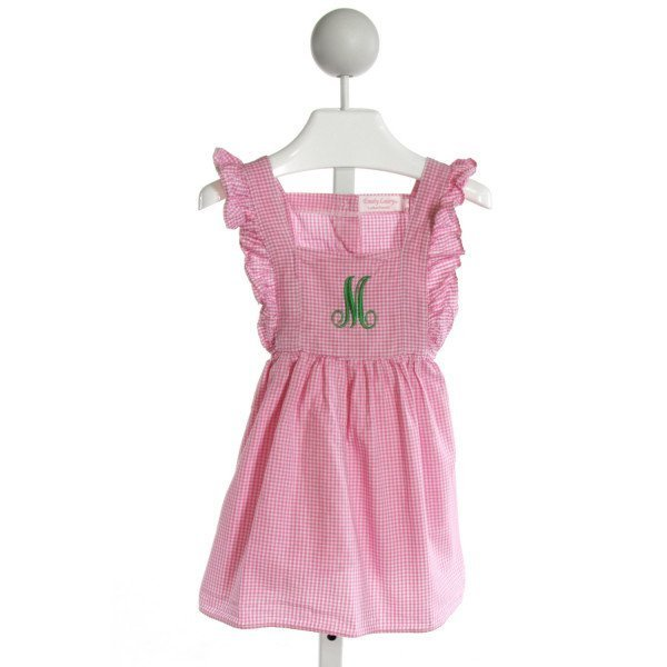 EMILY LACEY  PINK  GINGHAM EMBROIDERED DRESS WITH RUFFLE