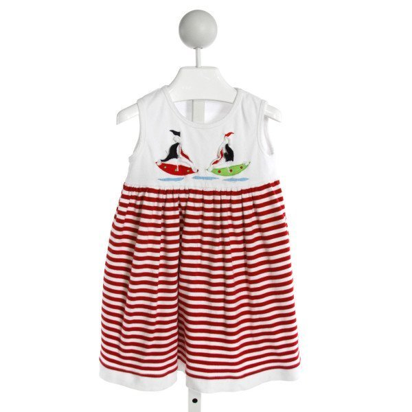 COTTON KIDS  WHITE  STRIPED EMBROIDERED KNIT DRESS