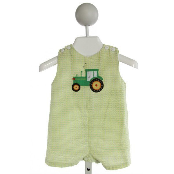 ZU  LT GREEN SEERSUCKER GINGHAM EMBROIDERED JOHN JOHN/ SHORTALL
