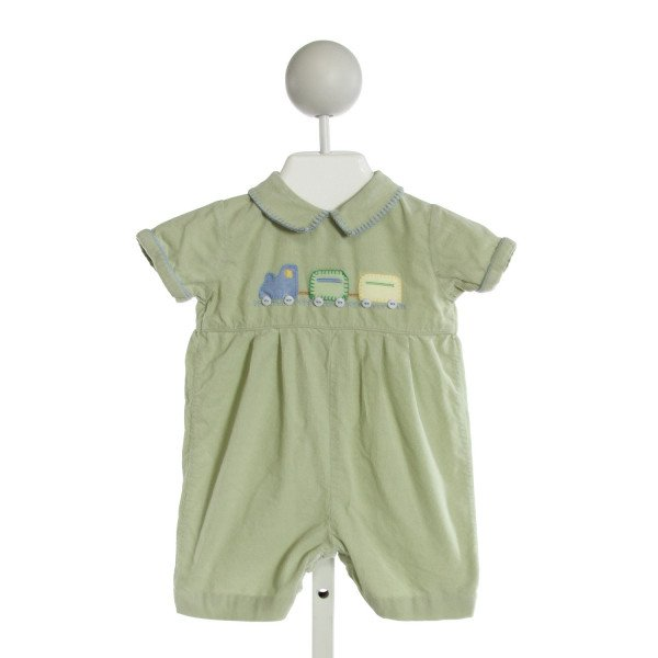 CARRIAGE BOUTIQUE  LT GREEN CORDUROY  EMBROIDERED JOHN JOHN/ SHORTALL