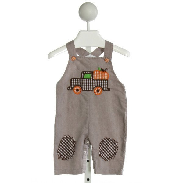 LIL CACTUS  BROWN   EMBROIDERED LONGALL/ROMPER