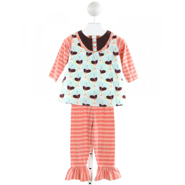 PEACHES 'N CREAM  MULTI-COLOR  STRIPED PRINTED DESIGN 2-PIECE OUTFIT WITH RUFFLE