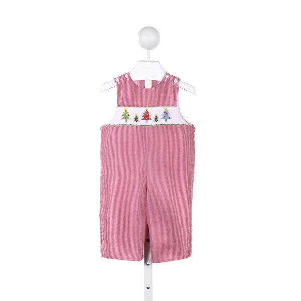 CUKEES RED GINGHAM ROMPER WITH CHRISTMAS TREE SMOCKING